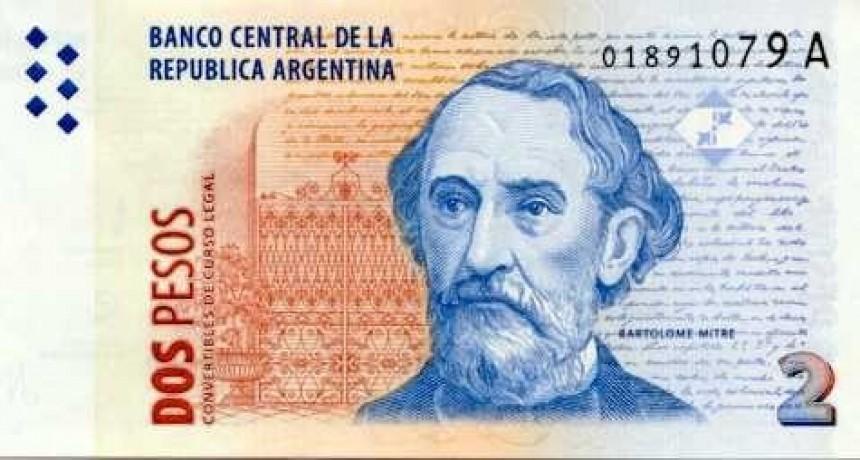 Los billetes de dos pesos podrán ser canjeados hasta el 27 de abril