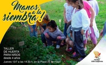 Villa California invita a los niños a un taller de huerta