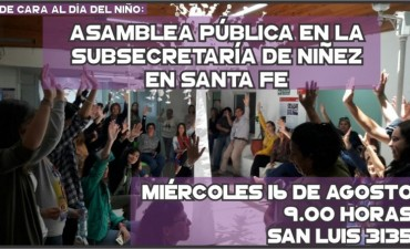 Trabajadores de la Subsecretaría de la Niñez realizan una asamblea pública