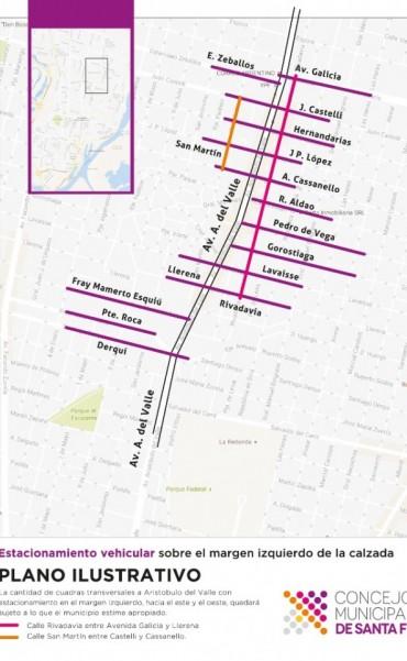 El Municipio deberá evaluar el estacionamiento sobre el margen izquierdo de calles transversales a Aristóbulo del Valle