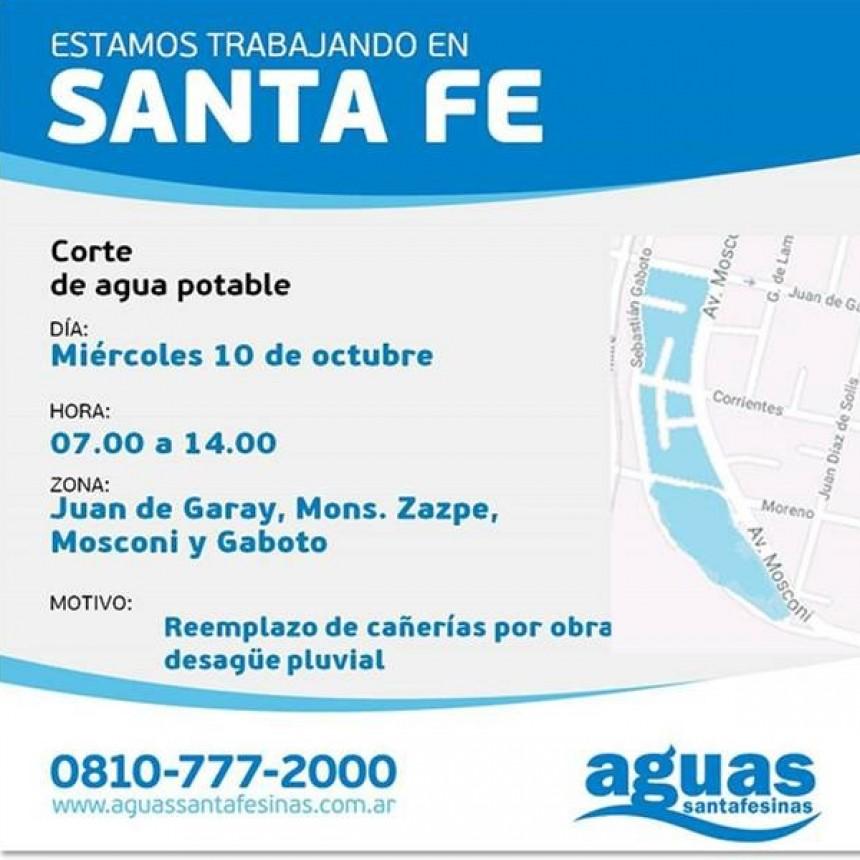 Corte de agua programado para el miércoles en barrio Mosconi