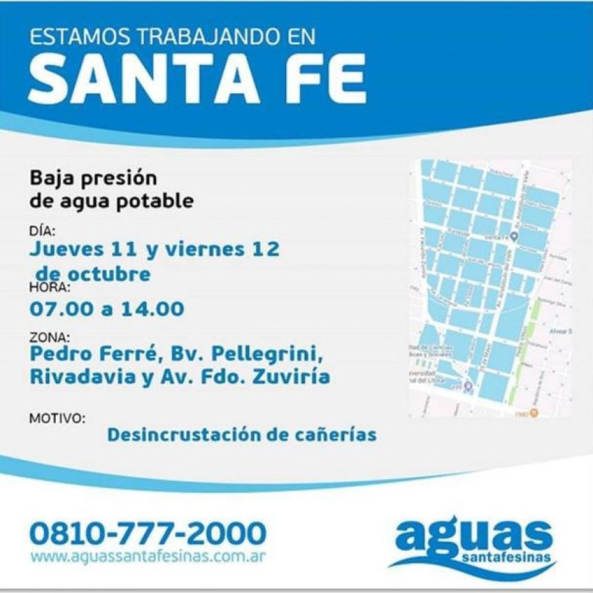 Corte de agua programado para jueves y viernes en Fomento 9 de Julio y Mariano Comas