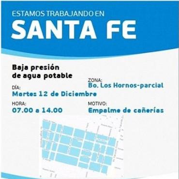 Corte de agua programado para el martes en un sector de barrio Los Hornos