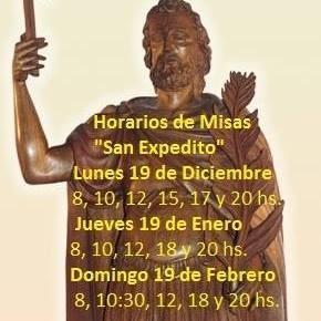 Misas para conmemorar a San Expedito en la parroquia Sagrado Corazón