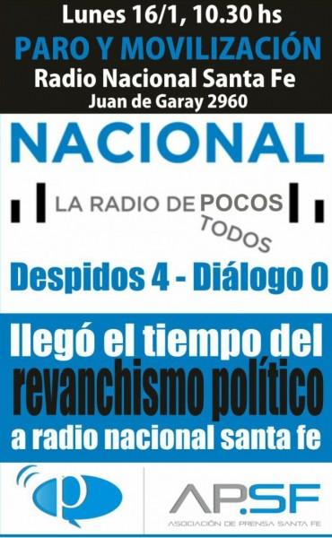 Medidas de fuerza en Radio Nacional Santa Fe