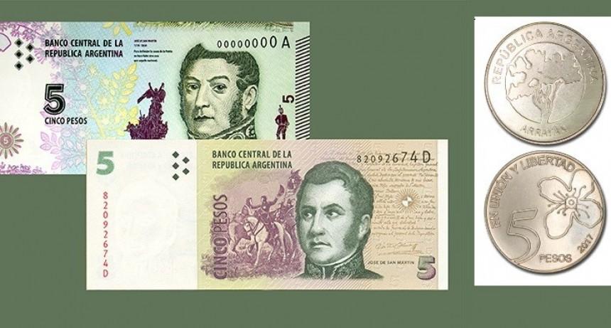 El billete de 5 pesos extiende su validez un mes más
