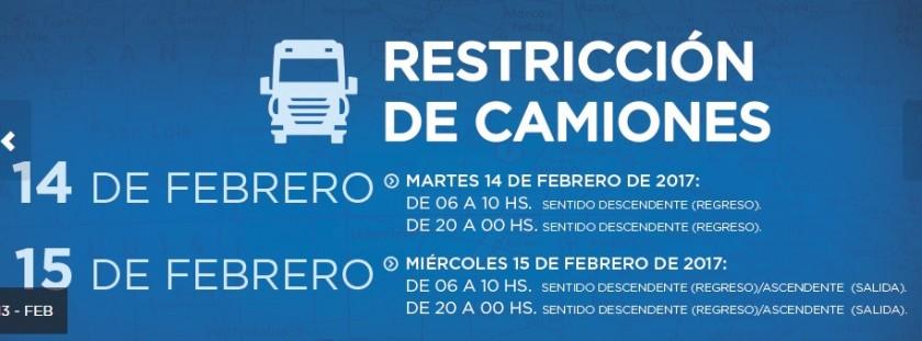 Tránsito restringido para camiones en rutas nacionales por el recambio de quincena