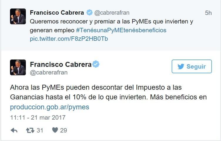 El Gobierno nacional anunció descuentos para Pymes que invirtieran ganancias