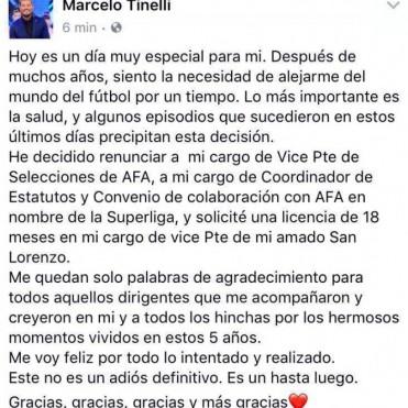 Tinelli renunció a sus cargos en AFA