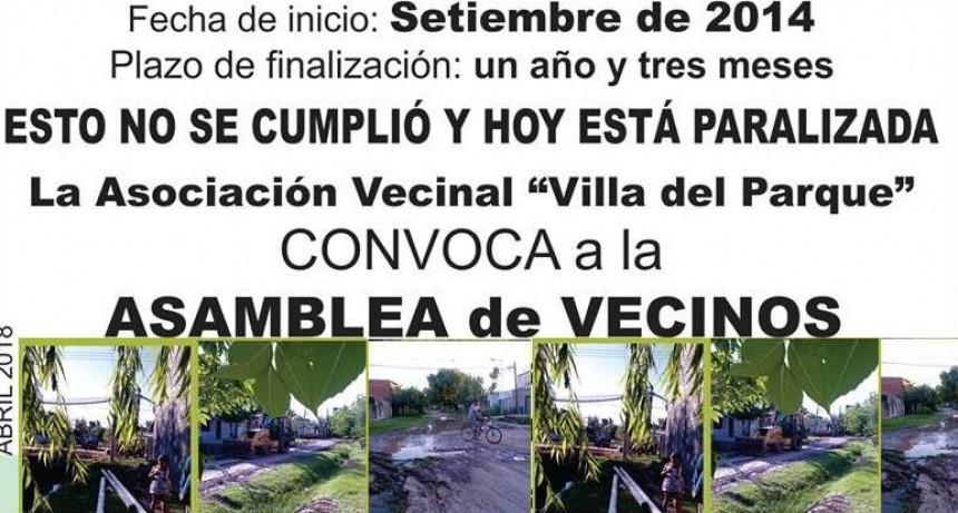 La Vecinal de Villa del Parque reclama por la finalización de una obra cloacal iniciada en 2015
