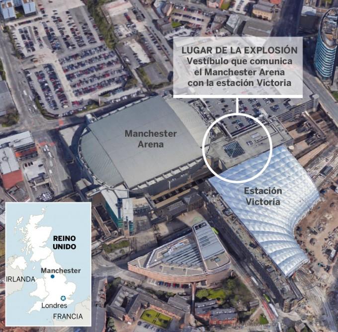 Veintidós muertos y 59 heridos es el saldo de un atentado suicida en un concierto en Manchester
