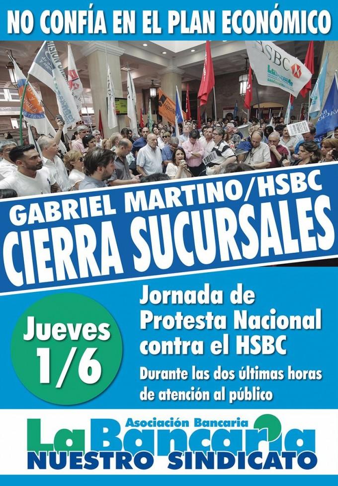La Bancaria impulsa una protesta nacional el jueves contra el HSBC