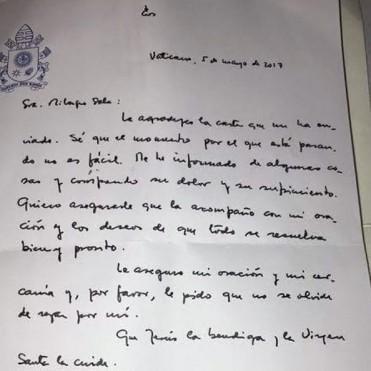 El papa Francisco le envió una carta a Milagro Sala
