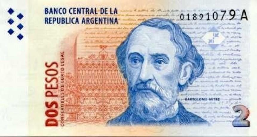 Salieron de circulación los billetes de 2 pesos