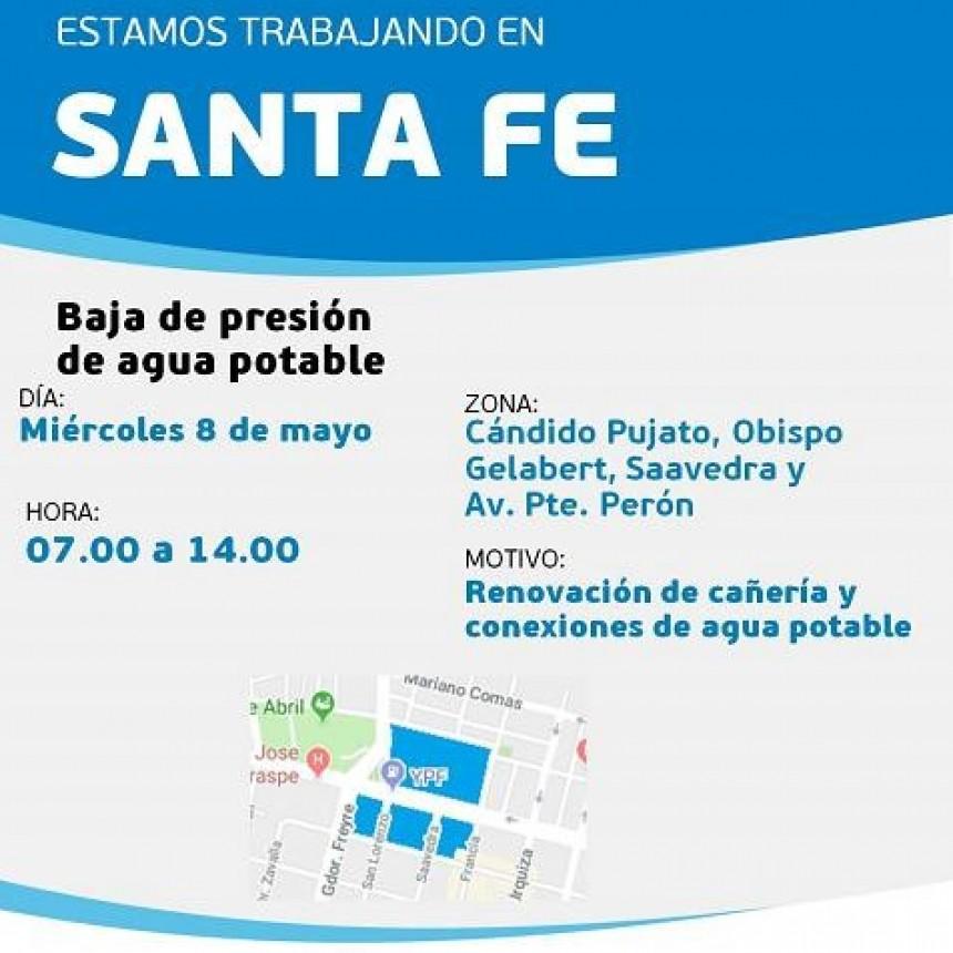 Baja presión de agua potable programada para este viernes en un sector de barrio Parque Garay y Mariano Comas