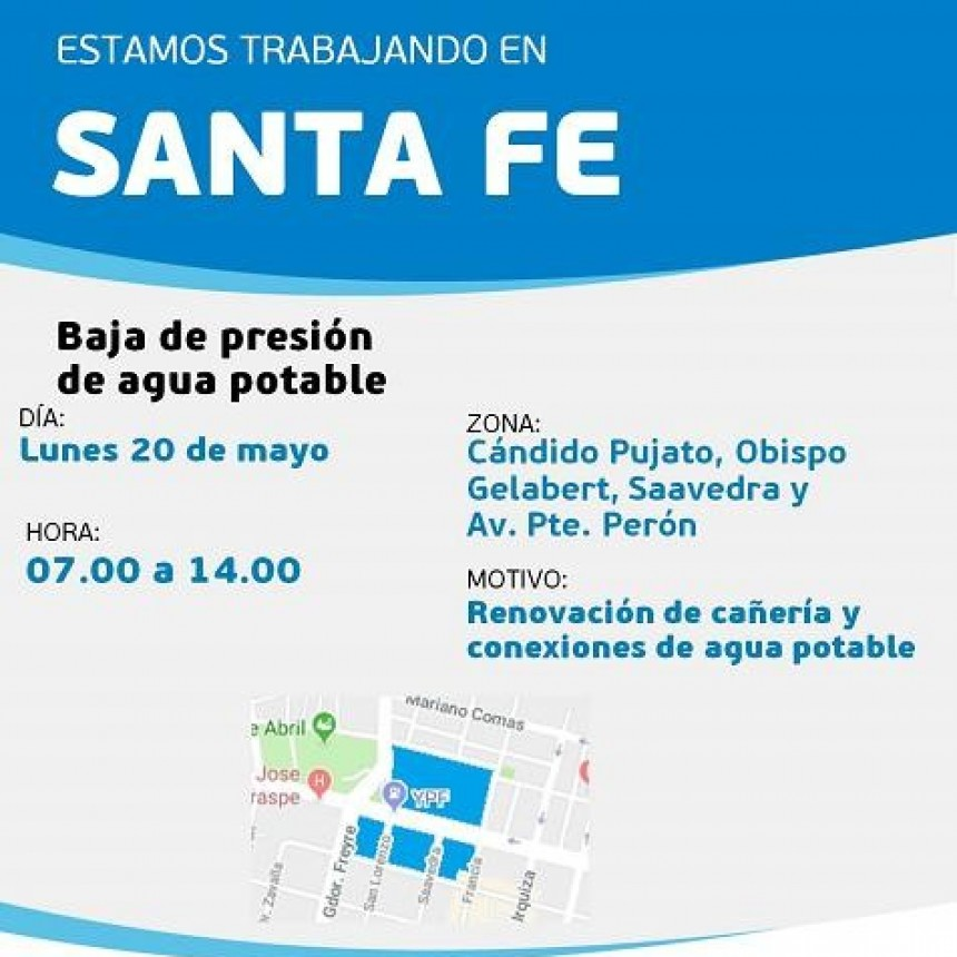 Baja presión de agua potable programada para este lunes en un sector de barrio Parque Garay y Mariano Comas