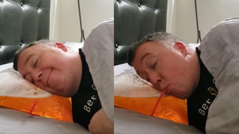 Inventan una almohada de cerveza para beber dormido