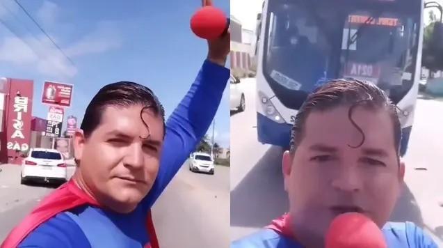Superman brasileño quiso frenar un colectivo con su propia mano