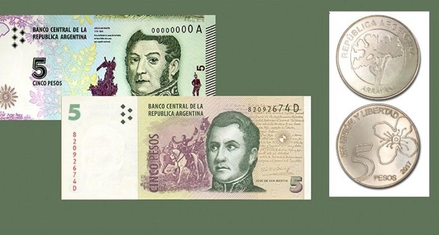 El billete de 5 pesos dejará de estar en circulación desde el año próximo