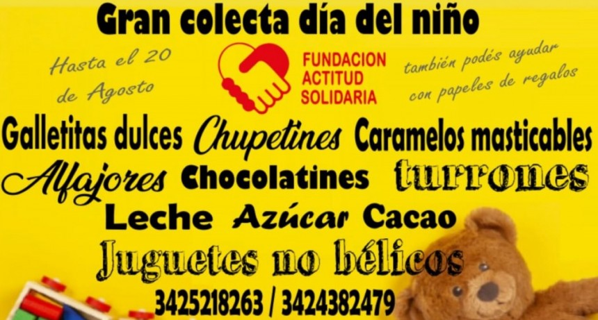 Fundación Actitud Solidaria realiza una colecta por el día del niño