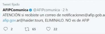 AFIP alerta sobre cuentas de correo electrónico apócrifas