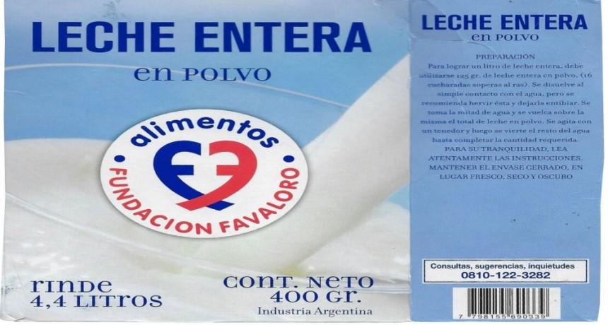 La Assal prohibió la venta de Leche Entera en Polvo marca Fundación Favaloro