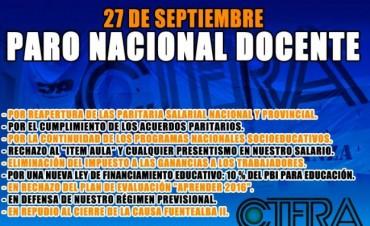 Ctera convocó a un paro nacional para el 27 de septiembre