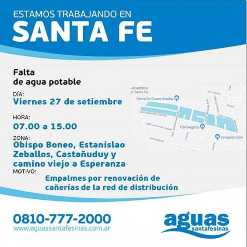 Corte de agua programado para este viernes en barrio Cabal