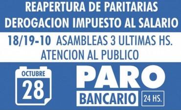 La Bancaria dispuso la retención de tareas para mañana y el miércoles