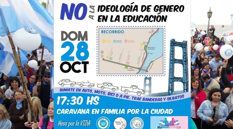 Caravana de grupos provida contra la ideología de género en la educación