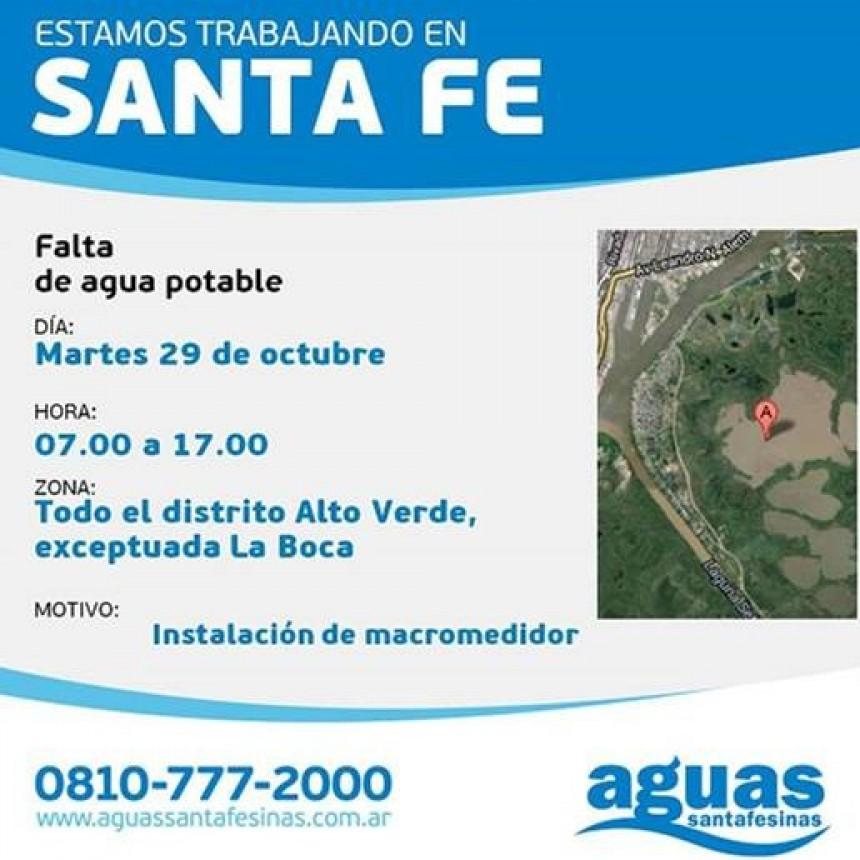 Corte de agua programado para este martes en Alto Verde