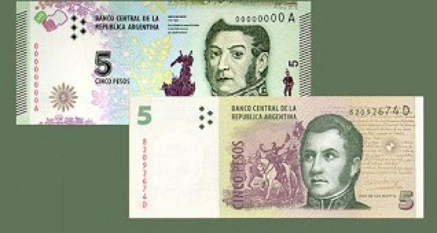 El billete de 5 pesos dejará de tener validez en febrero